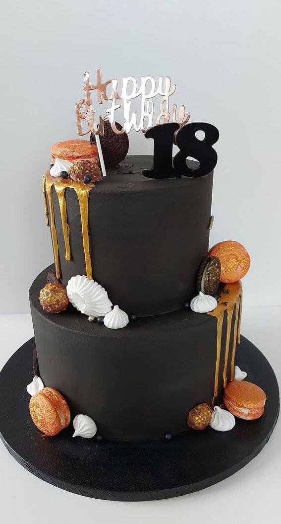 black birthday cake, black birthday cake for 18th birthday