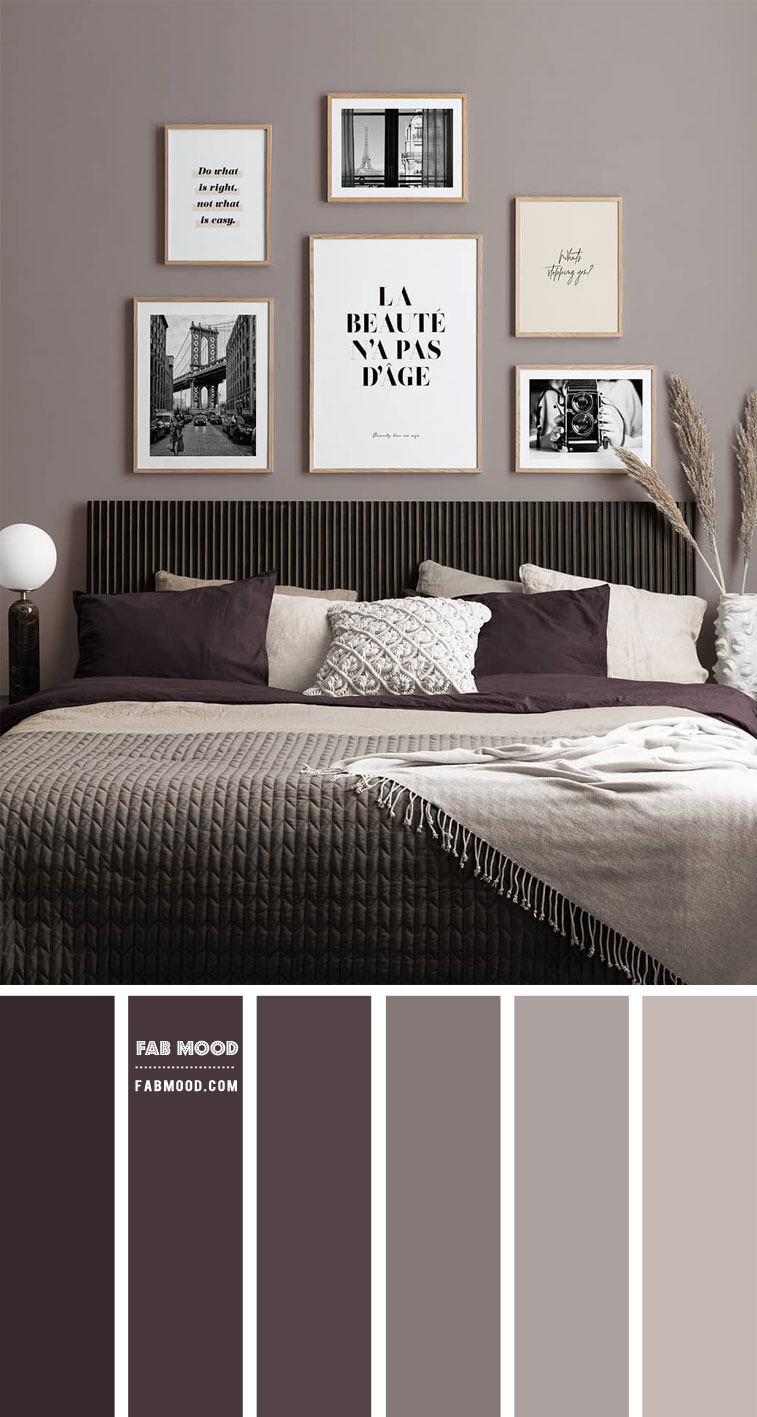 Aubergine and Smokey Color Scheme For Bedroom