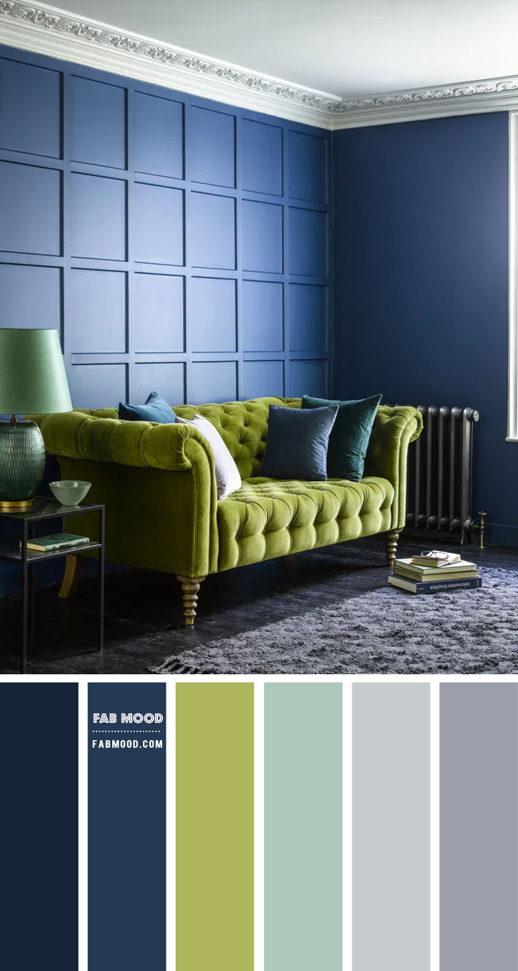 chartreuse and navy blue living room, navvy blue living room, navy blue walls, chartreuse living room, how to use chartreuse in home decor, chartreuse and grey color combo, color scheme, chartreuse living room ideas