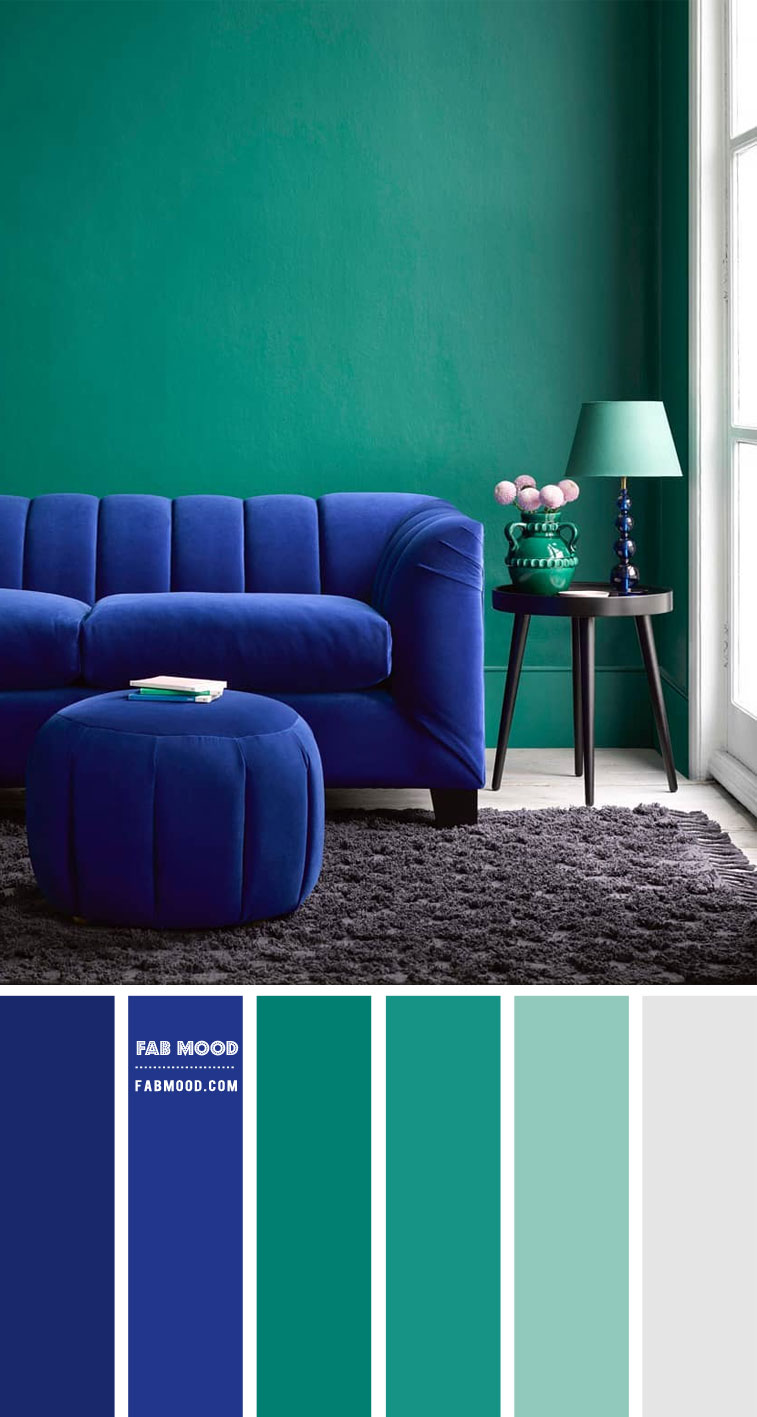 Cobalt Blue and Jade Green Living Room