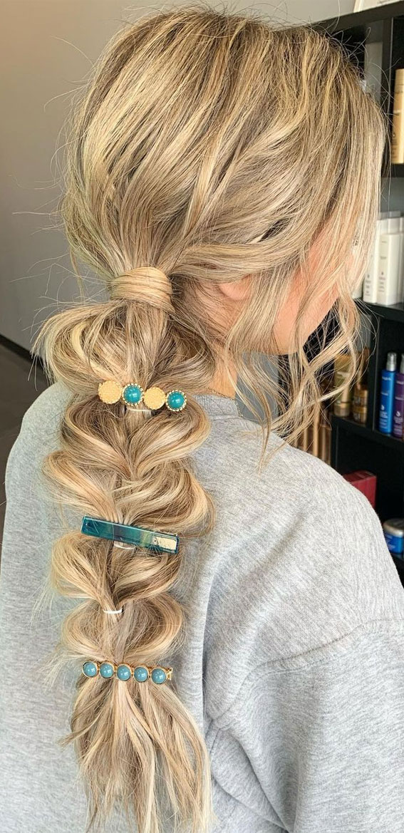 44 Beautiful Ways to Wear Braids This Season : Low Ponytail With A Pull through