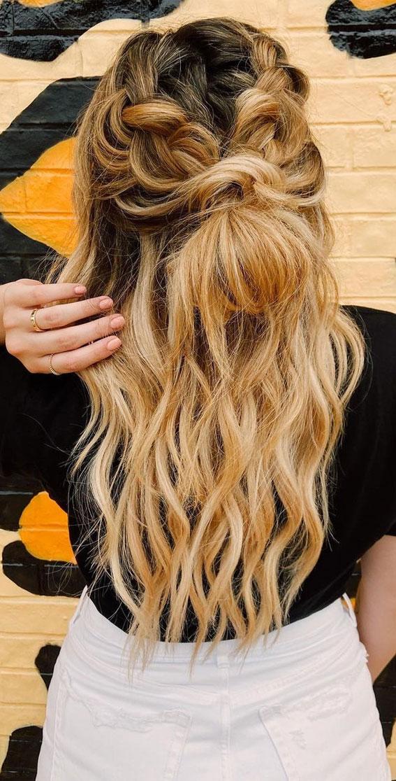 44 Beautiful Ways to Wear Braids This Season : Double braids and half up