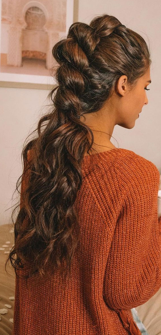 braided half up, boho braids, braided ponytail, ponytail, cute hairstyle, braided hairstyle ideas #braidedhairstyle #braid #hairstyle