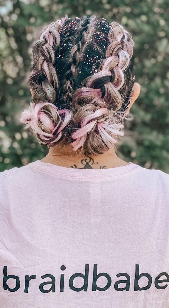 44 Beautiful Ways to Wear Braids This Season : braid with colour