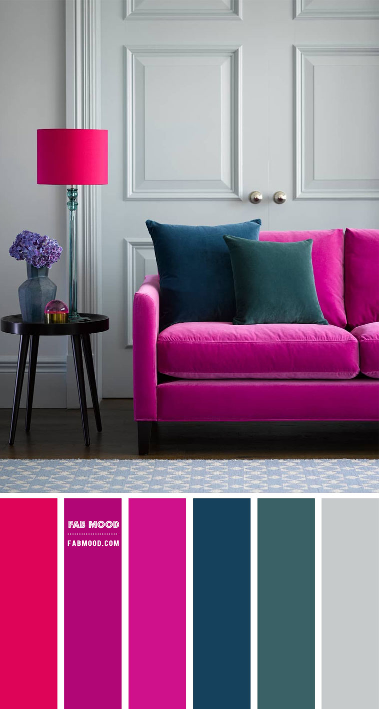 grey wall with pops of magenta, grey and magenta color scheme, grey and magenta color combos, grey walls living room