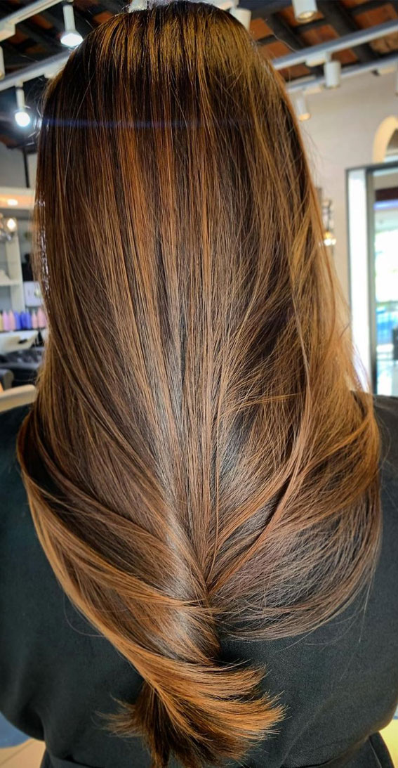 Best Hair Colour Ideas & Styles To Try in 2021 : Golden brown on long hair