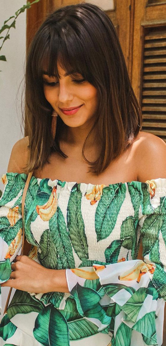 21 Cute Lob With Bangs To Copy in 2021 : Simple and cute lob haircut