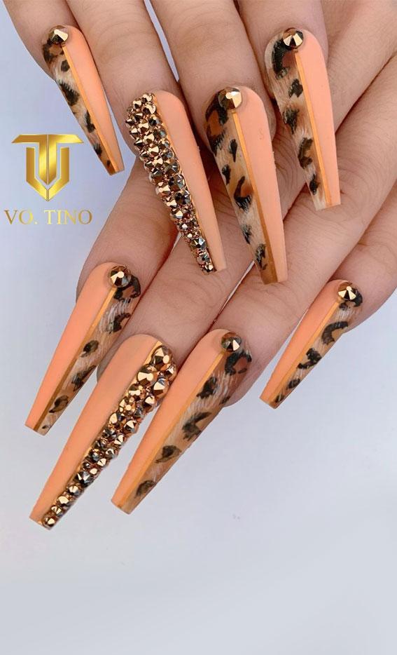 leopard print coffin nails, nail art designs, nail art designs 2021, stylish nails, nail art designs 2021