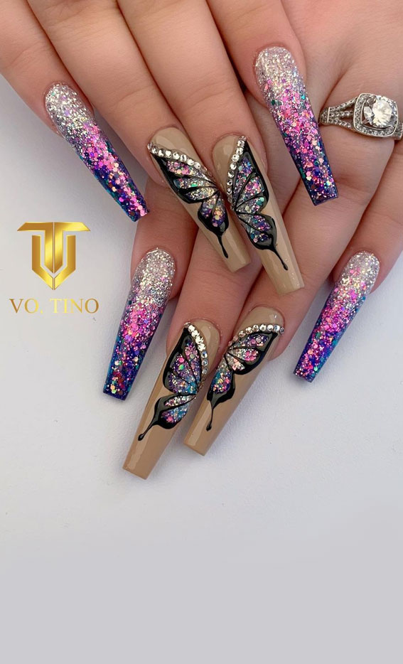 butterfly and glitter nails, butterfly nails, coffin nail art design, coffin nail designs 2021, coffin nails 2021, ombre nail art designs 2021