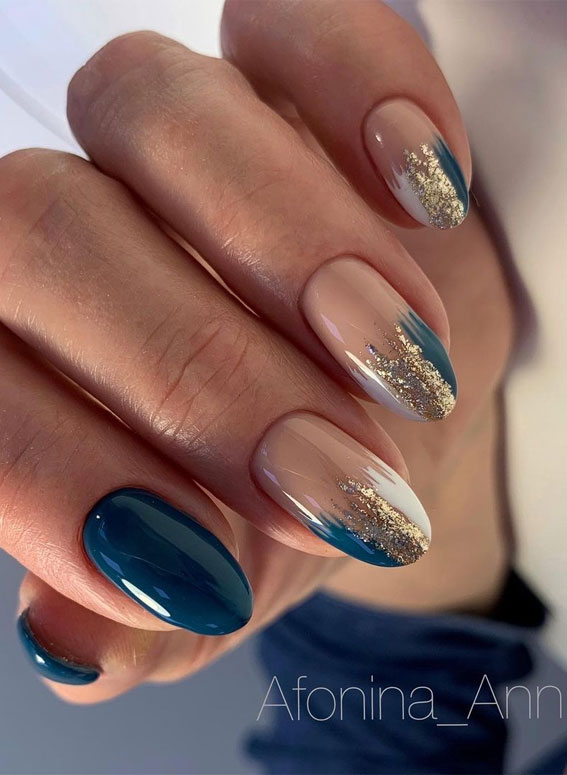 teal blue and nude nails, nail trends 2021, elegant nails, elegant nails designs, nail art designs