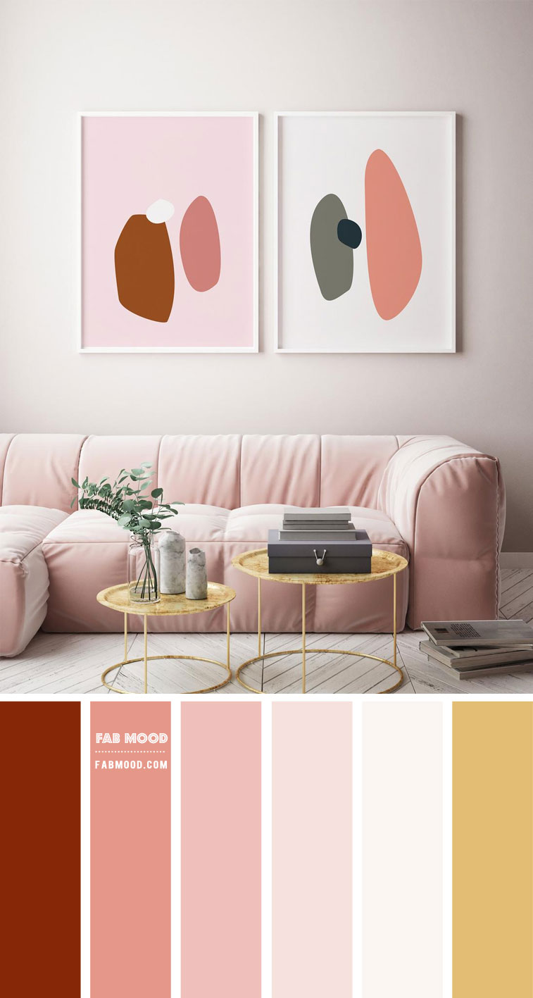 Neutral Living Room With Pink & Rust Accents