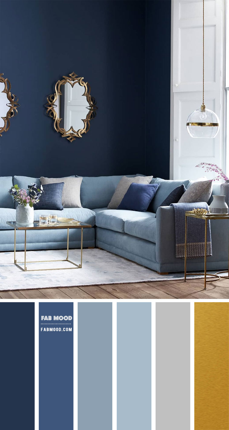 Shades of Blue and Grey Living Room { Blue, Grey and Gold Colour Scheme }