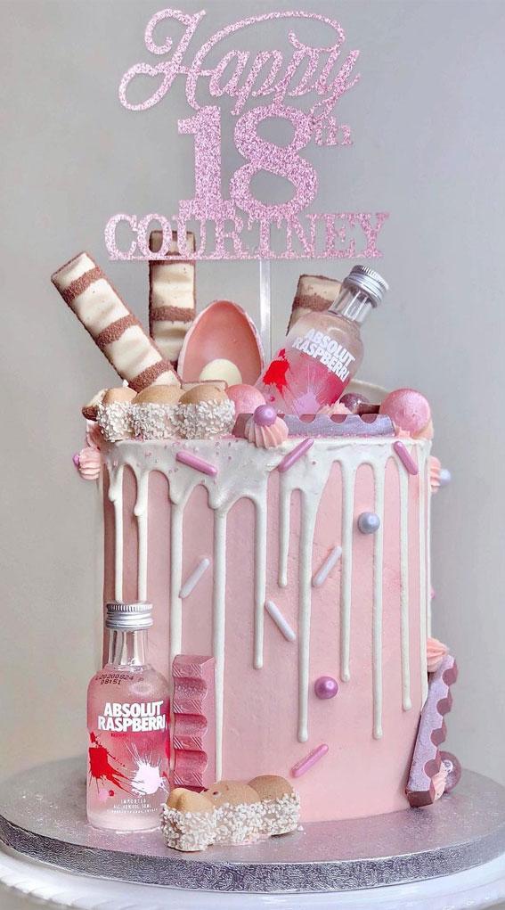 18th pink birthday cake, pink birthday cake for 18th birthday, 18th birthday cake ideas for girl