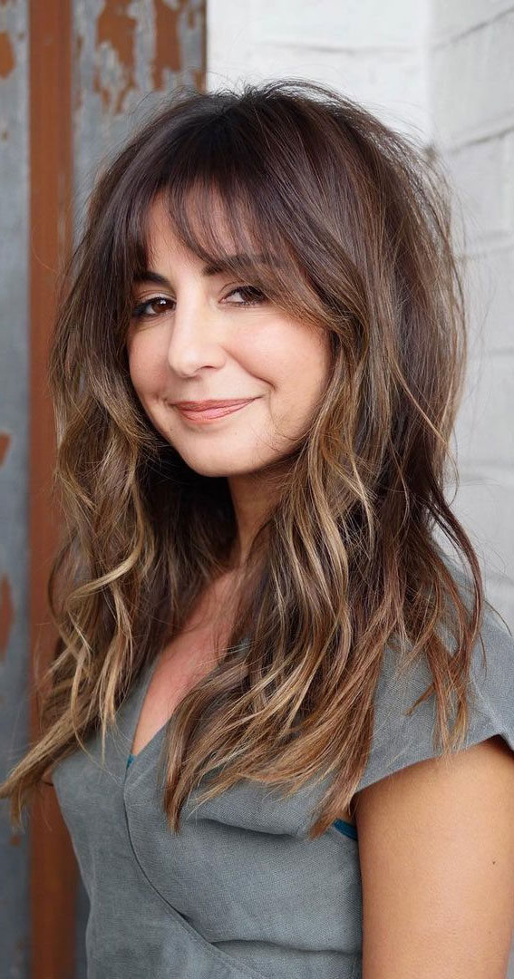 Cute Haircuts And Hairstyles With Bangs : Brunette Textured Hairstyle With Bangs