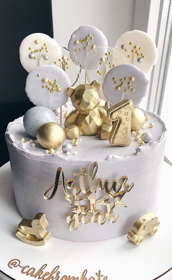 zlatna i siva torta za prvi rođendan, torta za prvi rođendan, torta za prvi rođendan