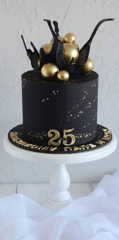 black birthday cake , 25th birthday cake ideas, black and gold birthday cake ideas, black and gold birthday cake design