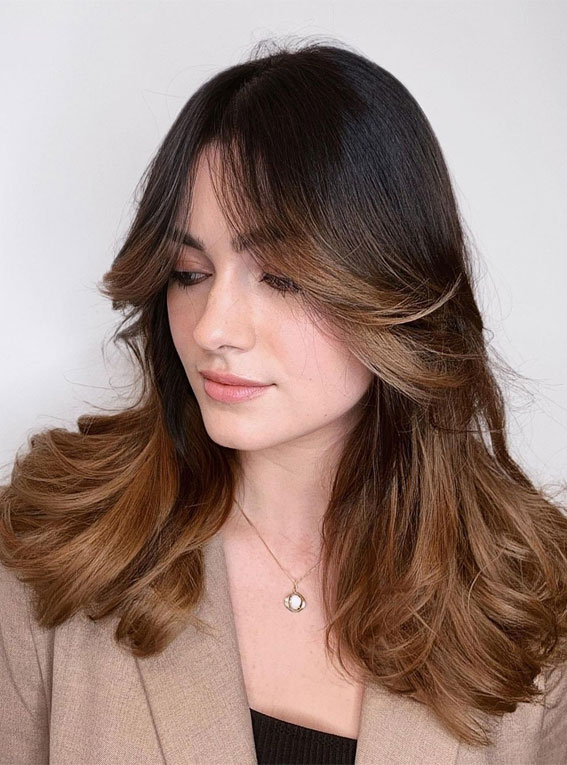 Cute Haircuts And Hairstyles With Bangs : Caramel balayage with curtain bangs