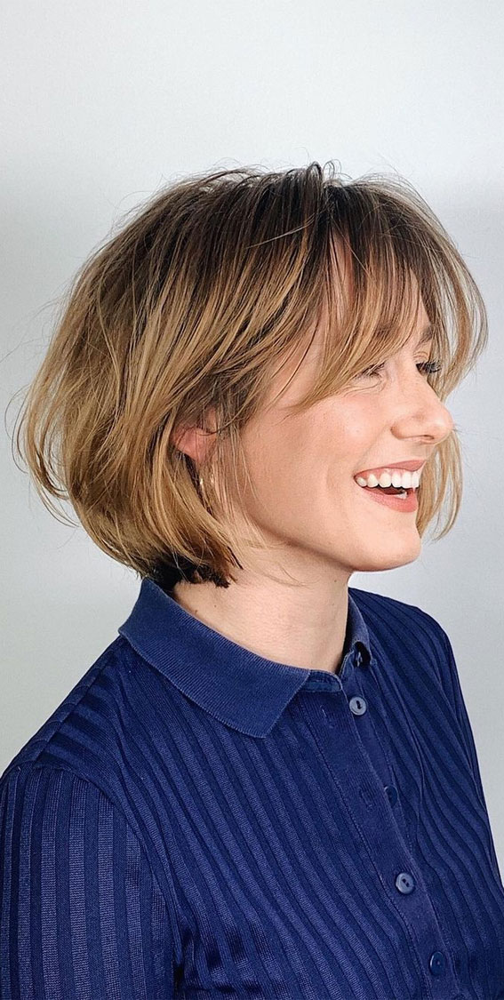Cute Haircuts And Hairstyles With Bangs : Cute bob with long curtain bangs