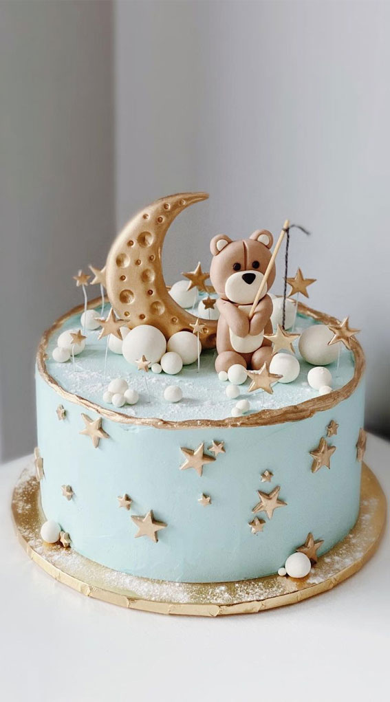 Pretty Cake Ideas For Every Celebration : Blue and gold birthday cake