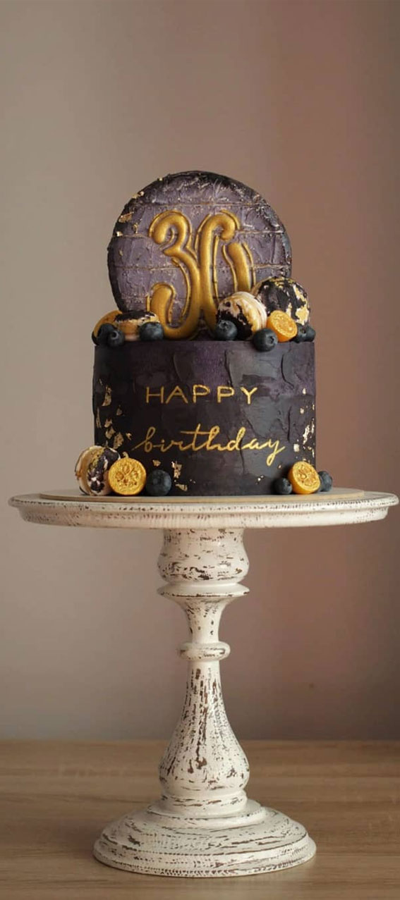 Pretty Cake Ideas For Every Celebration : Black and gold cake topped with fruits