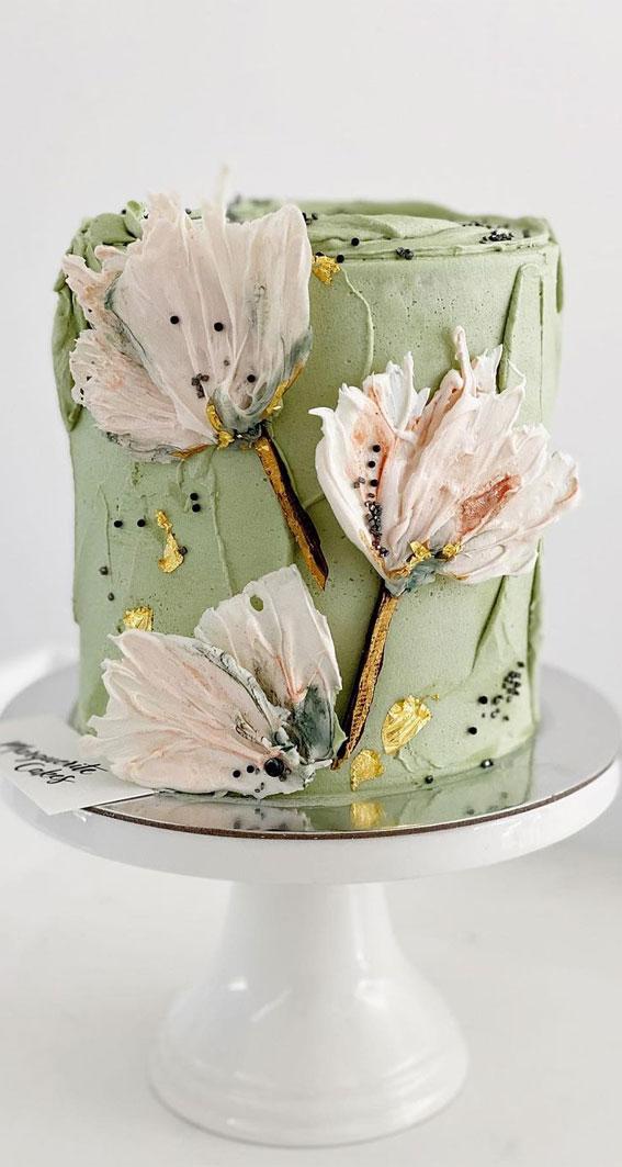 Pretty Cake Ideas For Every Celebration : floral green birthday cake