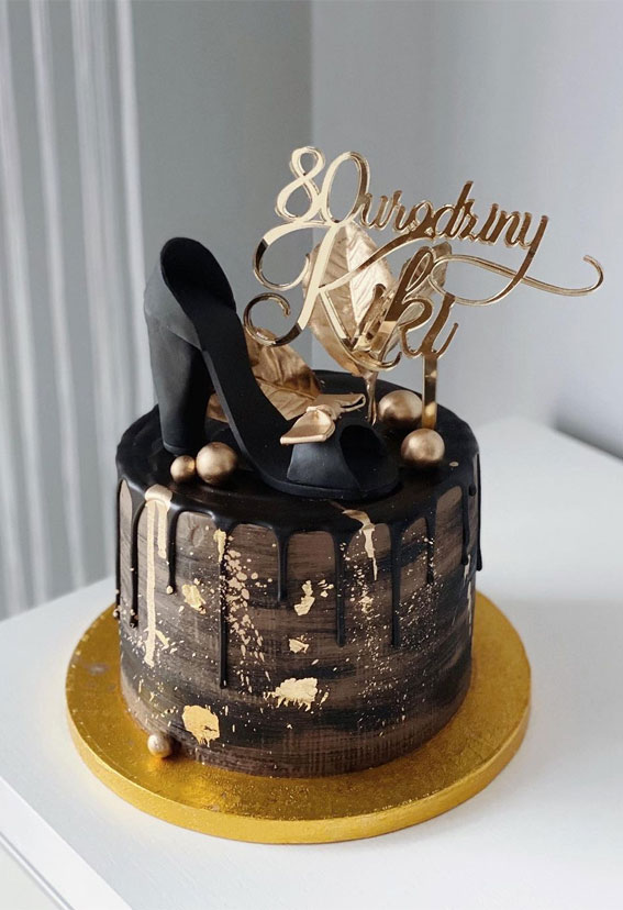 Pretty Cake Ideas For Every Celebration : Black and gold cake for 80th birthday