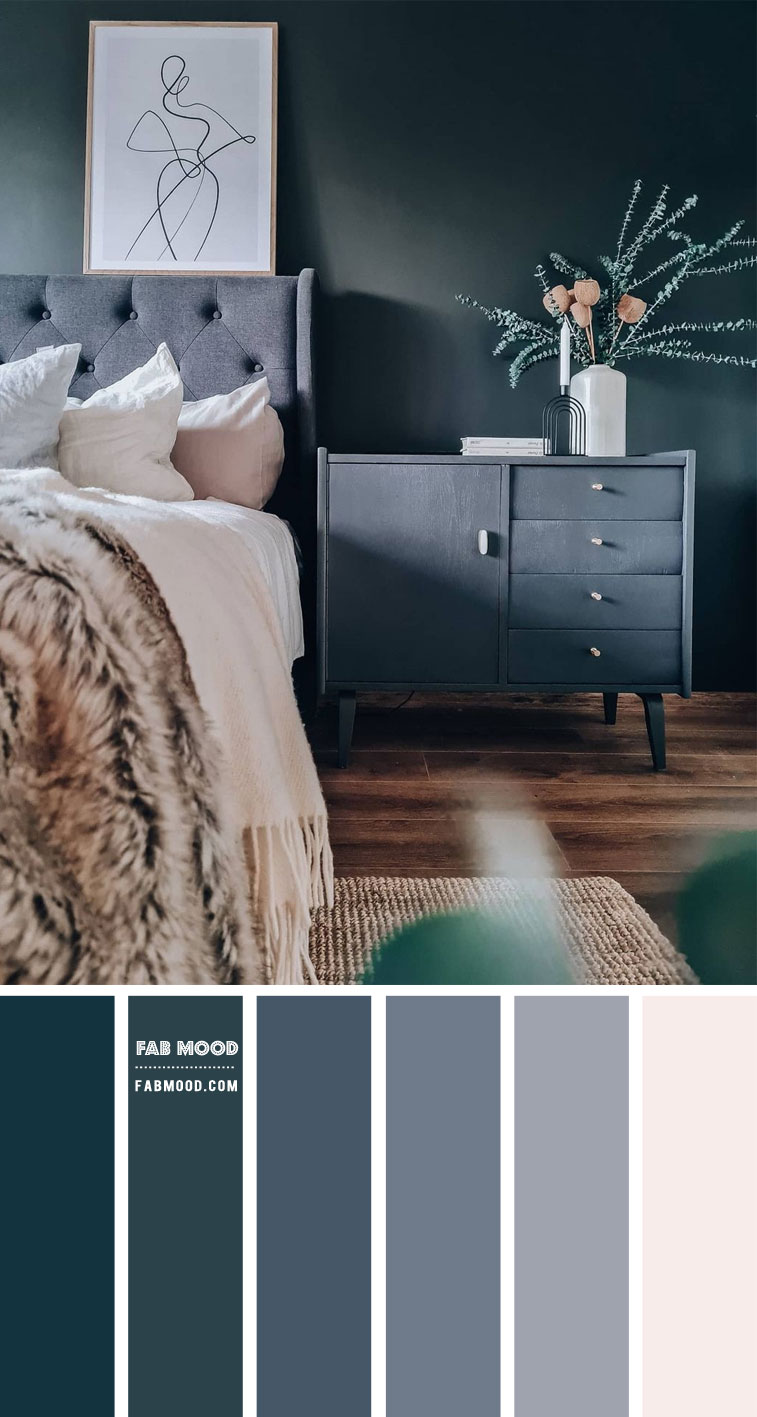 Charcoal and Blue Grey Bedroom Color Scheme