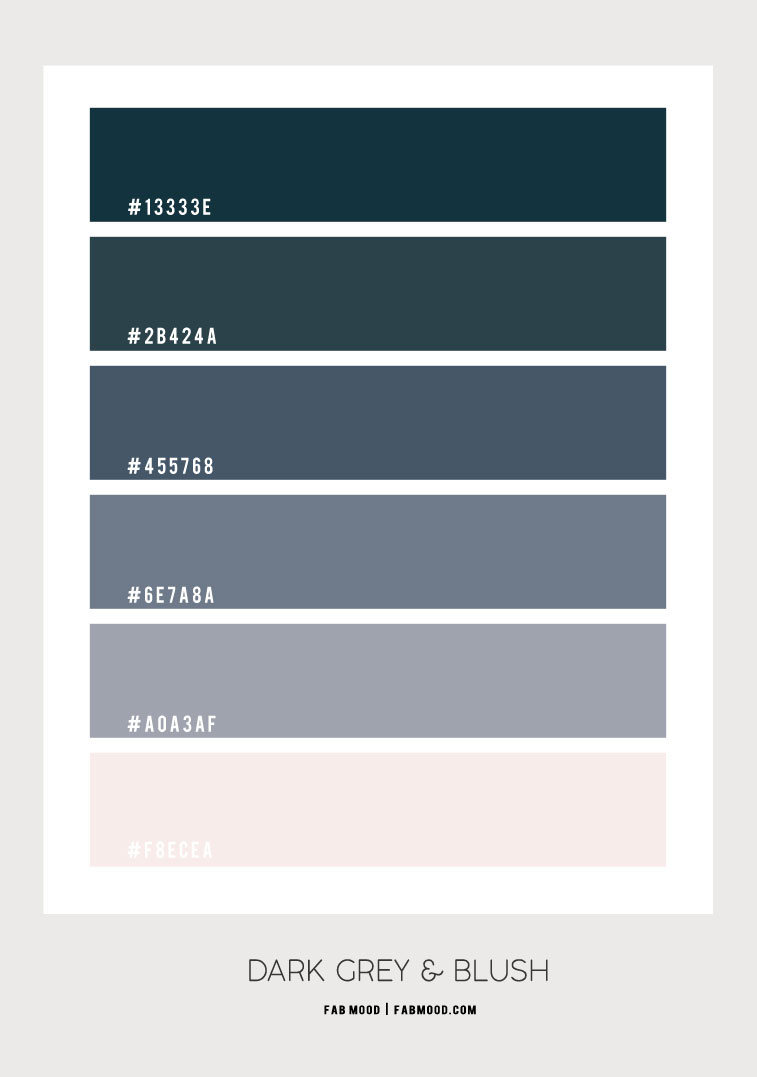 dark grey and blush, dark grey and blush color combo, grey and blush color combination, dark grey color hex, blush color hex