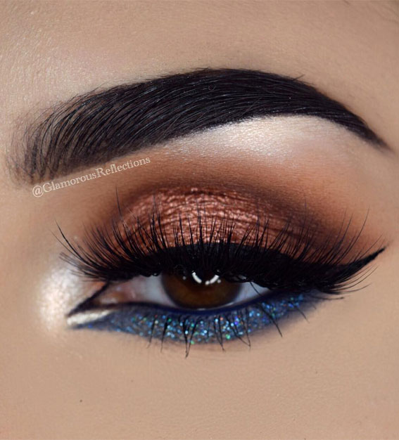 Best Eye Makeup Looks For 2021 : Blue and copper makeup look