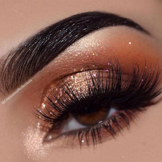 Best Eye Makeup Looks For 2021 : Gold orange makeup look