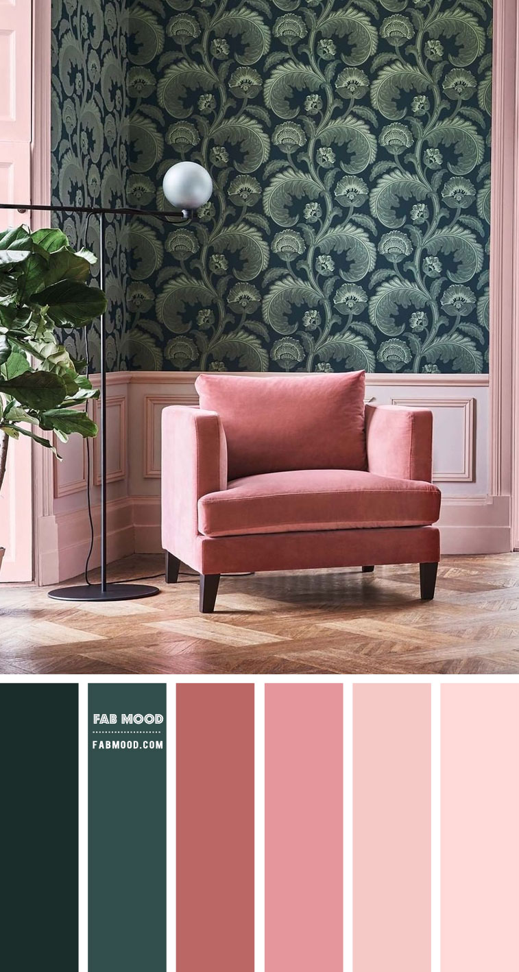 Green and Pink Colour Scheme for Living Room