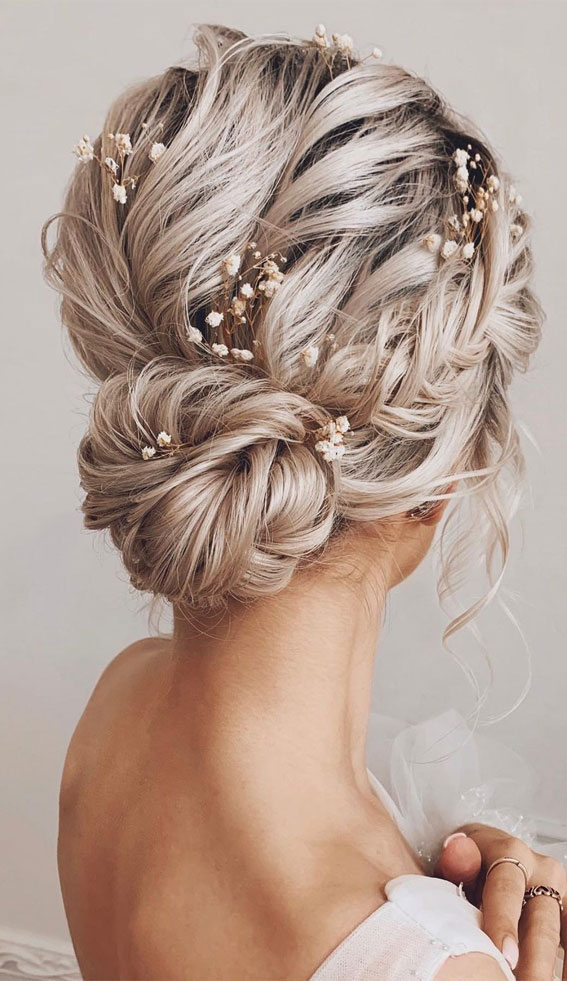Updo Hairstyles For Your Stylish Looks In 2021 : Textured updo with side braid