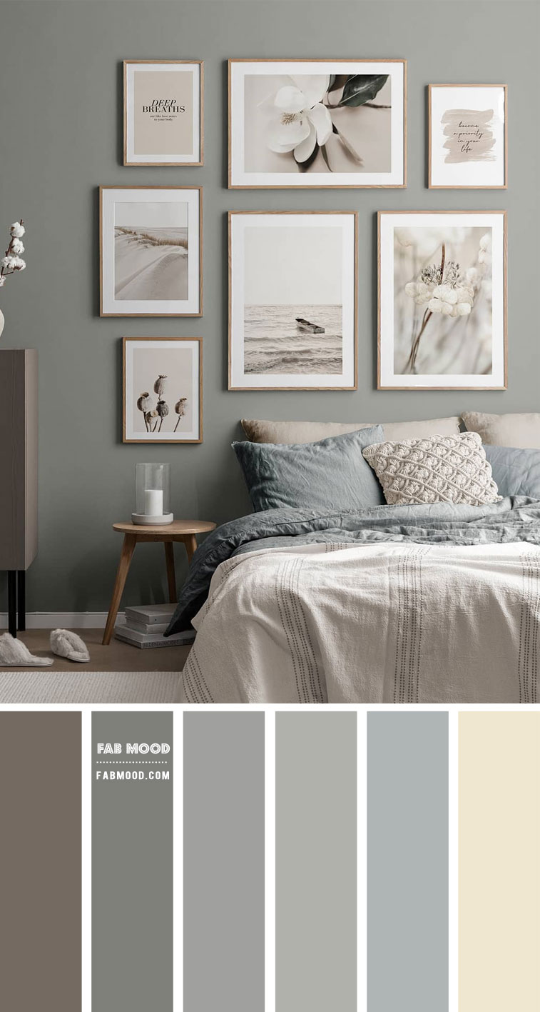 Muted Grey Green Bedroom Colour Scheme