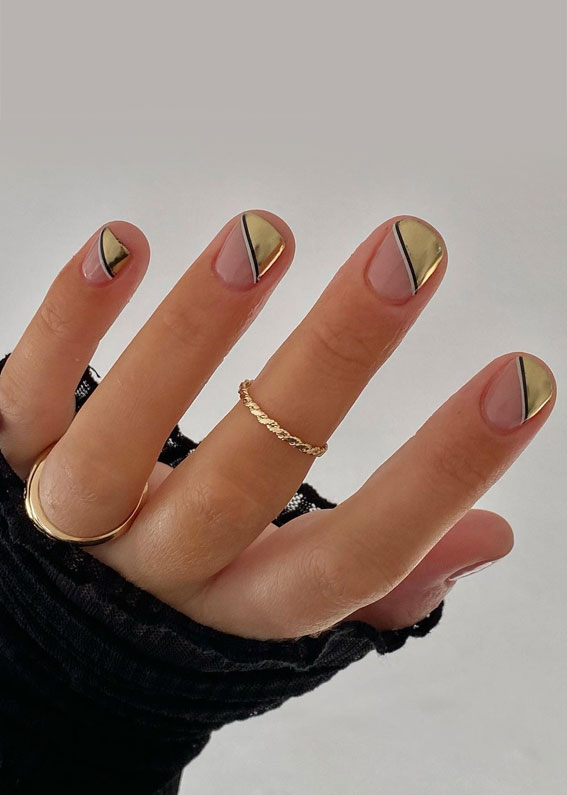 Cute Spring Nails That Will Never Go Out Of Style : Half Gold nails