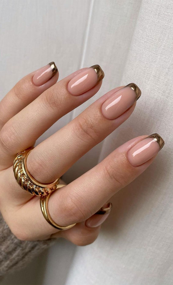 Cute Spring Nails That Will Never Go Out Of Style : Gold Tip Nails