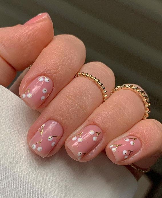 white cherry nails, glossy top nails, white cherry nude nails, natural looking nails , short nail designs