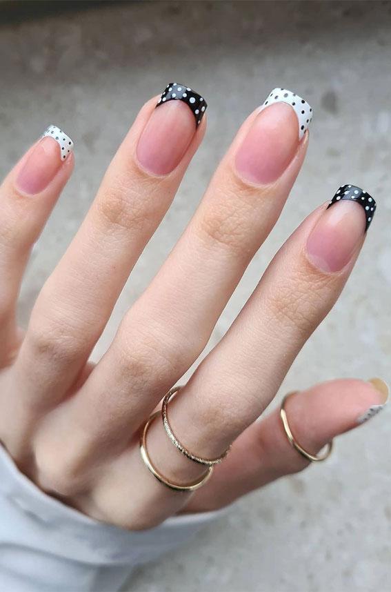 polka dot french tips, polka dot black and white french tips, polka dot french nails