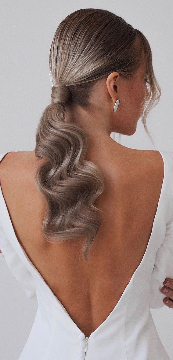 High And Low Ponytails For Any Occasion : Sleek bridal ponytail