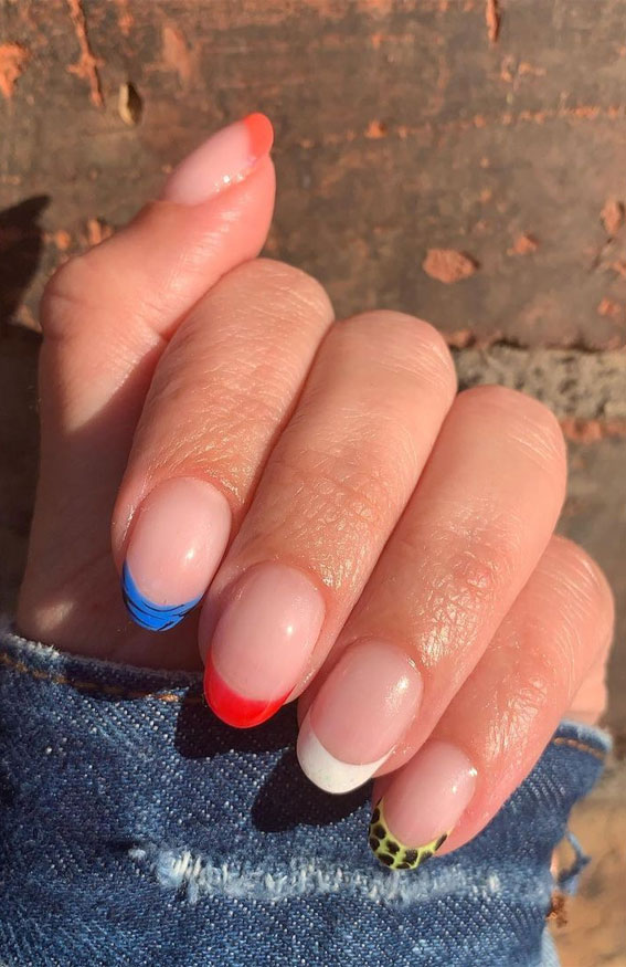 Cute Spring Nails That Will Never Go Out Of Style : Colourful & Animal print French nails