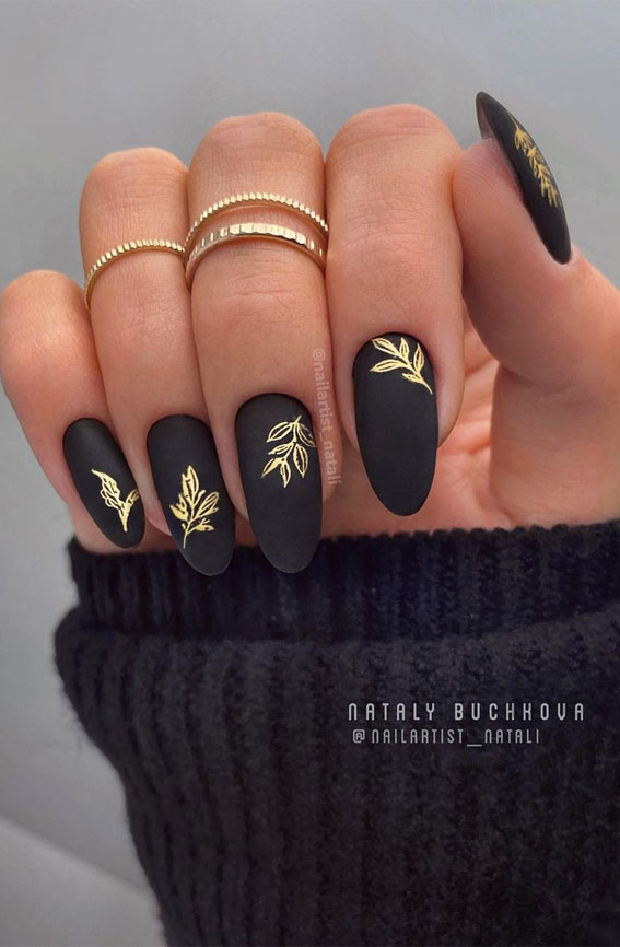 matte black nails with gold leaves, black and gold nails, gold leaf nails, matte black nail art designs