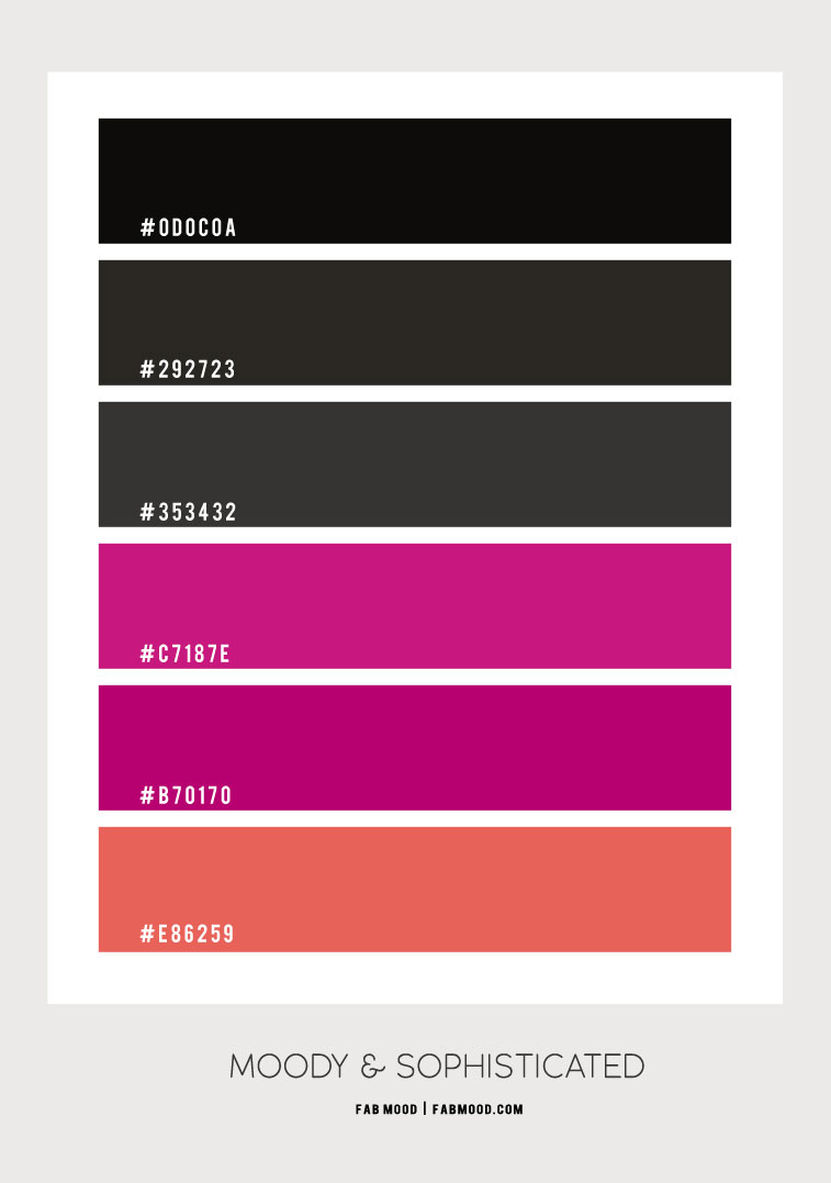 black and magenta, black and dark pink, black and peony colour scheme, black and magenta colour hex, black and dark pink color hex