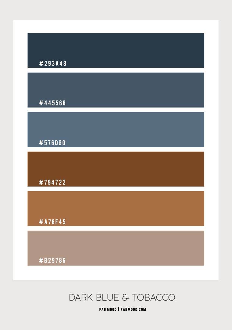 dark blue and brown color hex, dark blue and brown color scheme, dark blue and brown colour scheme, color hex, brown color hex, dusty dark blue color hex