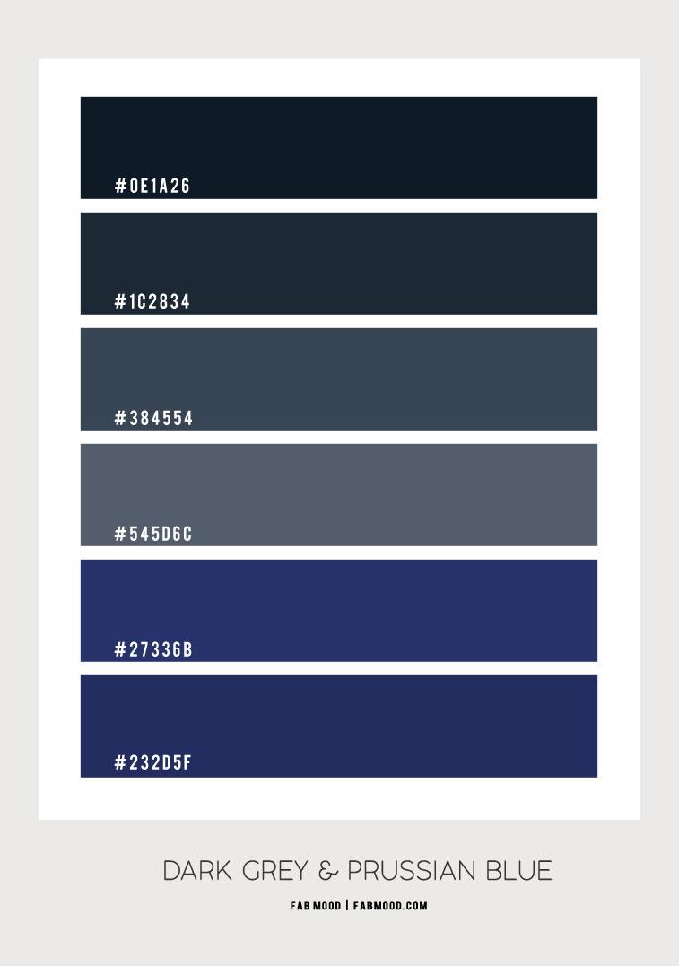 dark grey and prussian blue living room, dark grey color scheme, moody color combo, dark color scheme, dark blue and prussian color hex
