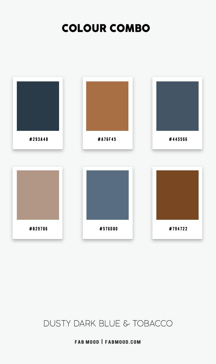 brown and dusty dark blue color scheme, brown and dark blue color palette, tobacco and dark blue color scheme, brown and navy blue color combination