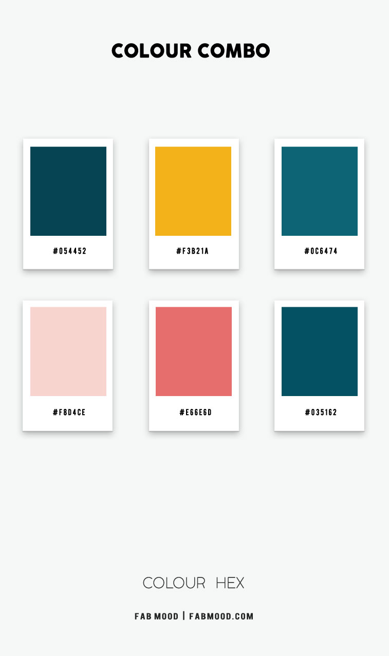 teal and mustard color hex, deep turquoise and mustard color hex, deep turquoise color hex, coral and deep turquoise color hex