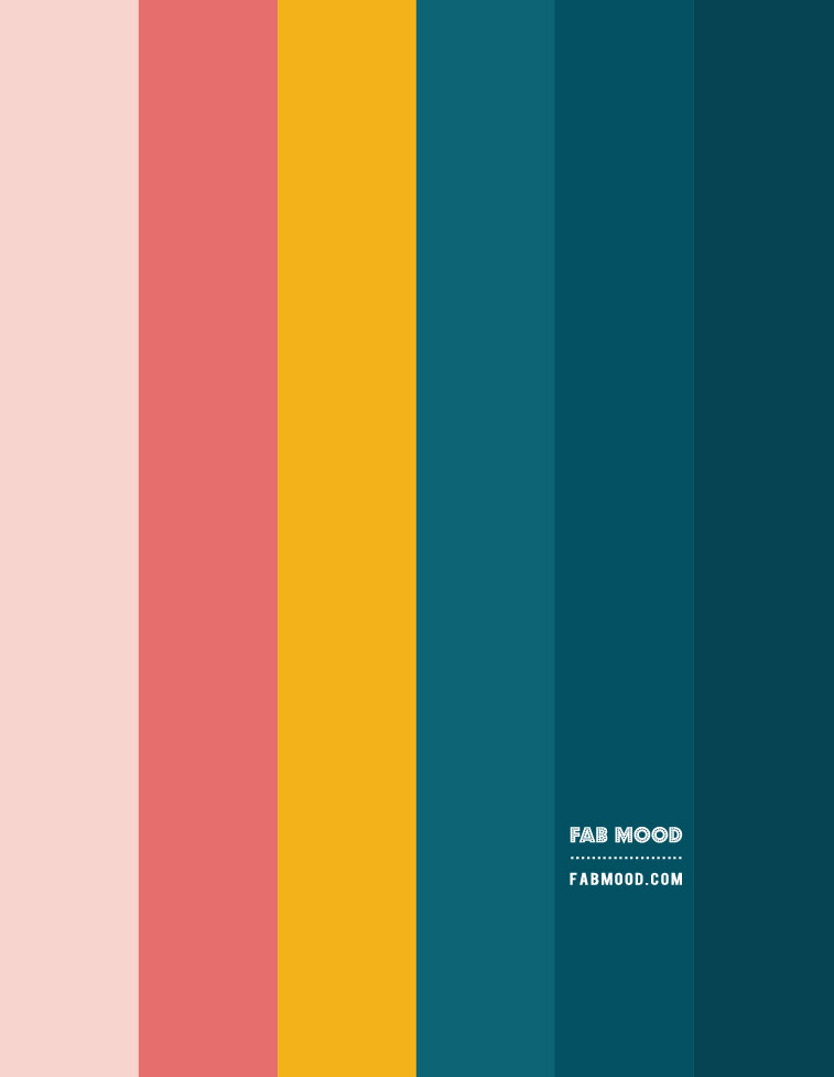 deep ocean, teal and mustard, deep turquoise and mustard gradient colour palette, mustard and teal color combo