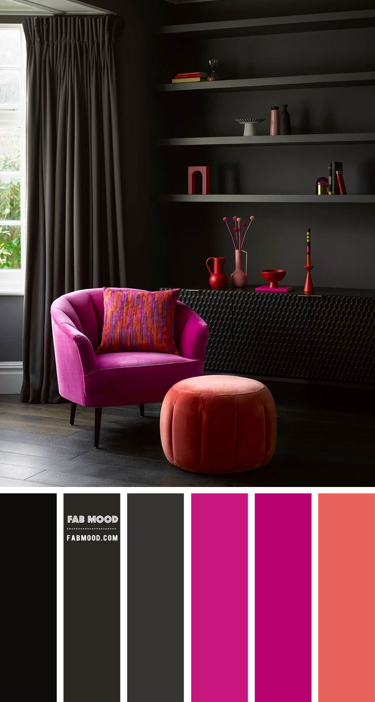 Black and Magenta Colour Scheme { Moody Living Room }
