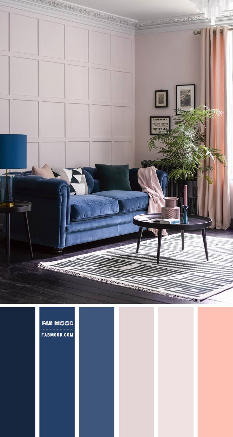 Light Grey and Navy Blue Living Room with a Touch of Peach