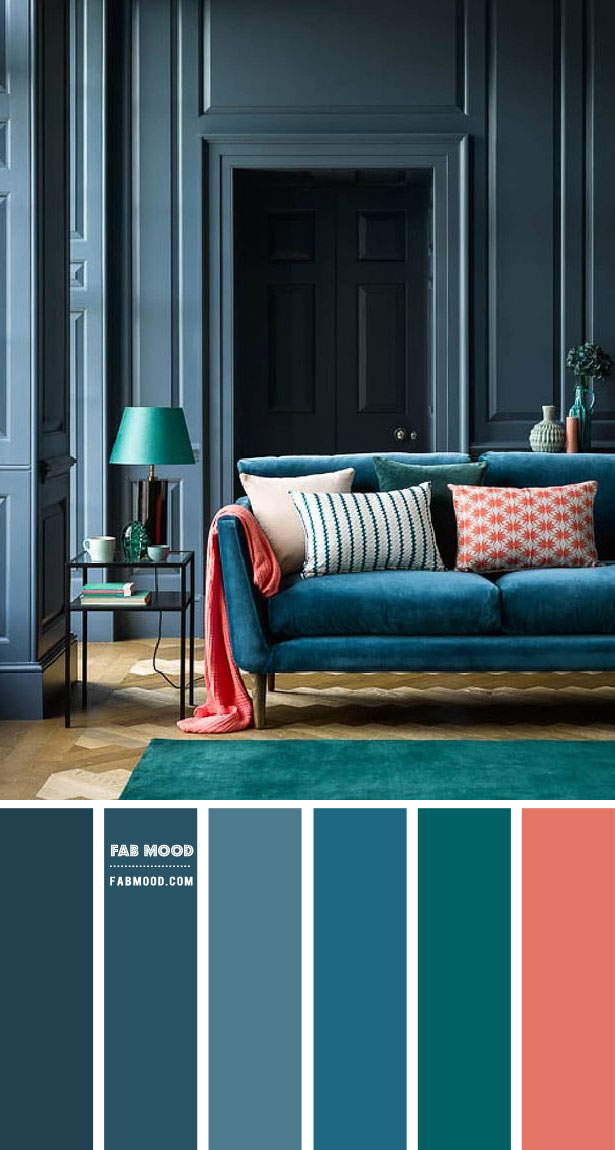 Blue Grey and Teal Living Room { Moody Living Room }