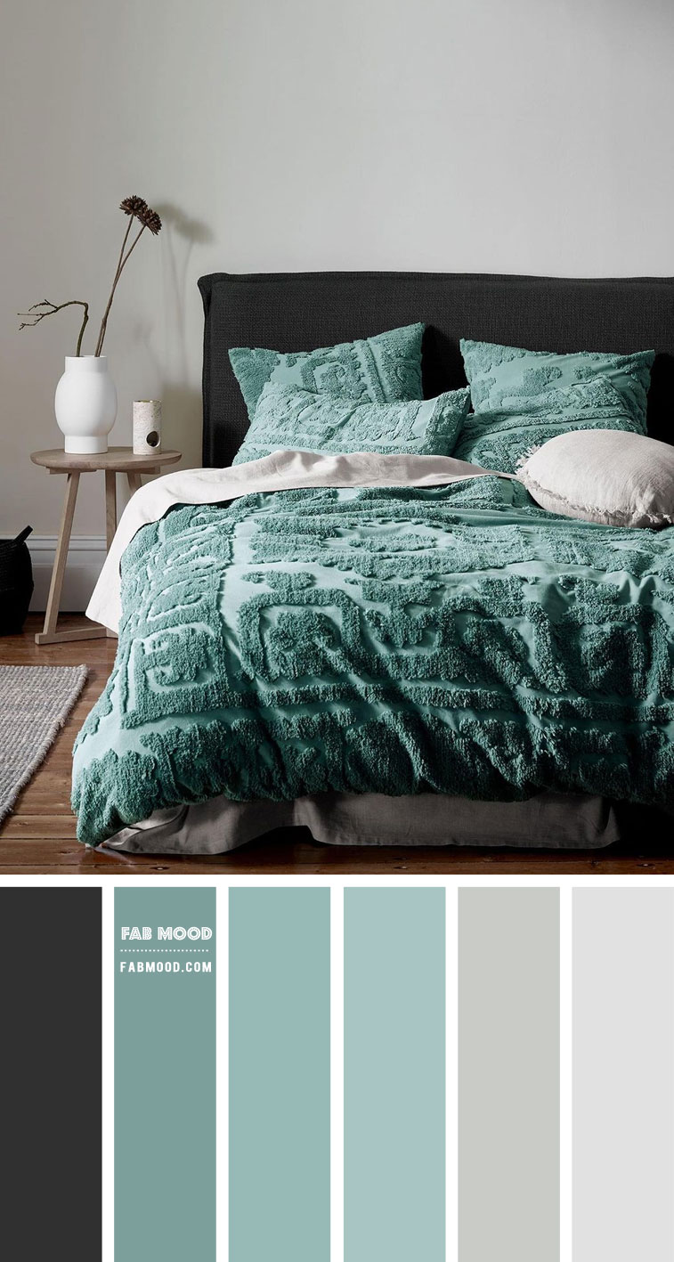 Charcoal and Jade Green Colour Scheme For Neutral Bedroom